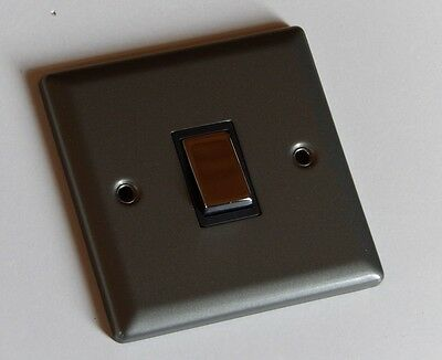 Silver Pewter Effect Single 1 Gang Light Switch 2 Way With Black & Chrome Insert