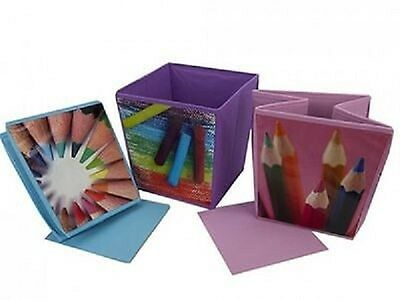Colourful Cube Shaped Waste Paper Bin Fun And Functional Fold Away Handy Size