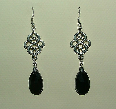 Victorian Style Persian Design Black Faceted Glass Silver Plated Earrings