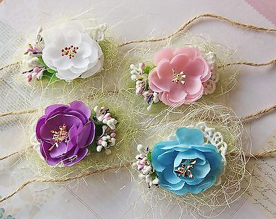 Newborn Baby Girl Flower Handmade Tieback Halo Headband Photo Prop