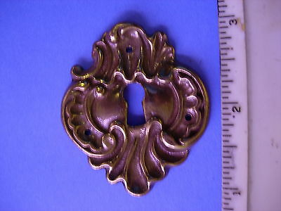 Vintage Cast Italian Brass Decorative Skeleton Key Hole Cover Fancy Ornate NOS