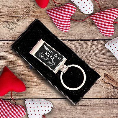 Mothers Day Worlds Best MUM NAN GRANDMA Engraved Keyring Gift Present Gift Boxed