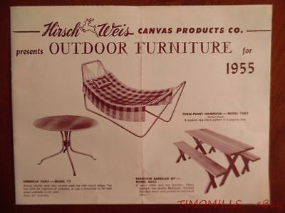 1955 Hirsch Weis Outdoor Furniture Catalog Brochure White Stag Atomic Age Patio