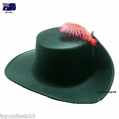 Musketeer Swordsman Adult Hat With Feather Party Costume Dress Up Unisex