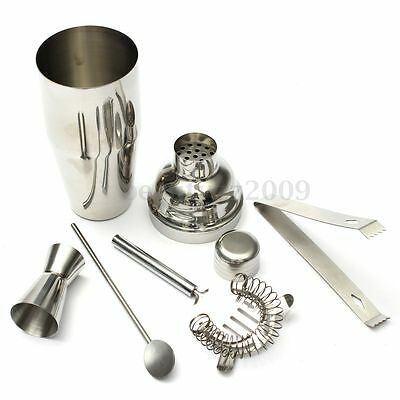Set 5 Stainless Steel Cocktail Shaker Jigger Mixer Bar Drink Bartender 750ML