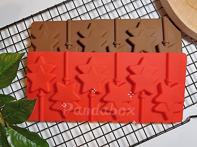 6x Silicone Twin Star Lollipop Chocolate Mould Ice Cube Jelly Lolly Kids Fun