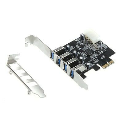 i.norys - 4 Port USB3 PCI Express Card (bis zu 5Gb/s) PCIe Adapter Low Profile