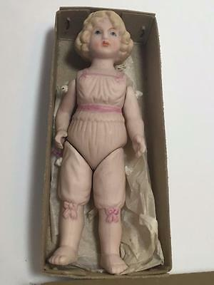 "Vintage 1970s Shackman Japan Jointed Bisque Chemise Girl Doll 5 1/4"" in Box"