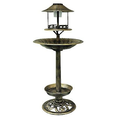 Kingfisher Copper Effect Solar Powered Led Light Bird Bath And Feeding Station