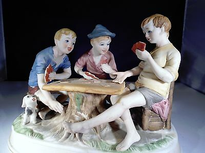 VINTAGE PORCELAIN  Three Boys Playing Poker with cute puppy