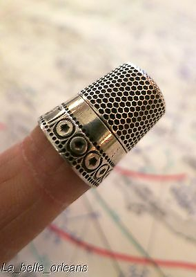 Antique Waite Thresher Co. Sterling Silver Thimble. Great Design.