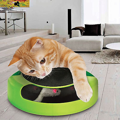 Cat Kitten Catch The Mouse Plush Moving Toy Scratching Claw Care Mat Play Toy • EUR 6,55