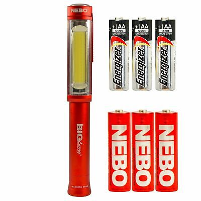 NEBO 6413 Big Larry RED 400 Lumen LED Worklight Magnetic + 3x EXTRA AA