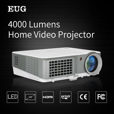 Full HD 7000:1 4000LM LED Projector 1080P Home Cinema Theater VGA USB AV HDMI AU