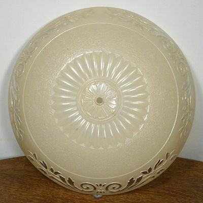 Large Antique ART DECO Round Ceiling Lamp Shade. Molded Glass Chandelier RARE