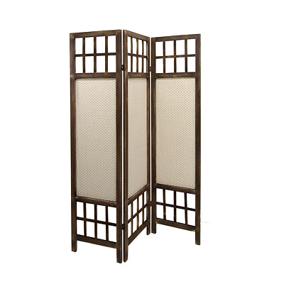 Mobili Rebecca® Partition Privacy Screen 3 Panel Fabric Wood Bedroom Brown