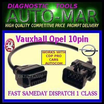 Vauxhall Opel 10 Pin to 16 Pin OBD2 Diagnostic Adapter Cable