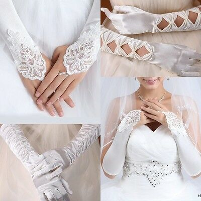 "15.7"" Extra Long White/Ivory Satin Lace Gloves Fingerless Wedding Bridal Gift"