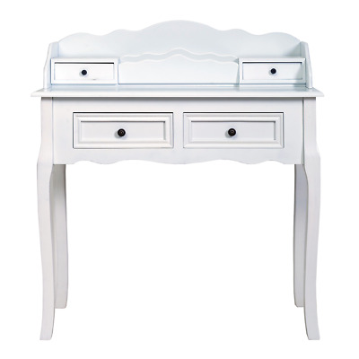 Mobili Rebecca® Dressing Table 4 Drawers Wood White Classic Hall Lounge Bedroom