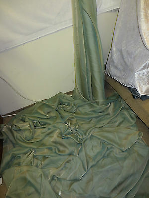 "10M  Cationic Two Tone Green Chiffon   Soft  Dress Chiffon Fabric 58"" Wide"