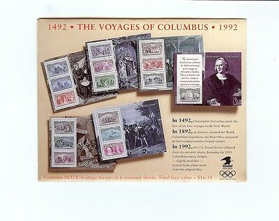 US Postage- Columbus' 500th Anniversary Souvenir Sheets