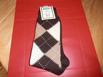 McRitche of Edinburgh Brown  Argyle  Pattern Sock 7-11