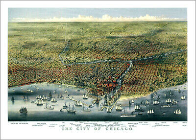 Vintage Giclee Reprint CHICAGO, ILLINOIS 1874 Illustrated Aerial Poster