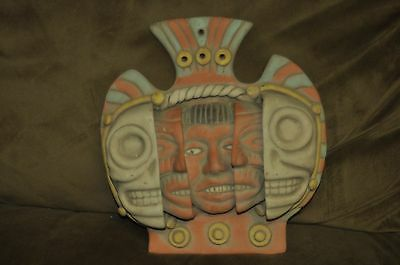 Mexico Aztec Three Ages of Man Clay Face Mask Vintage Mayan Pottery Terra Cotta