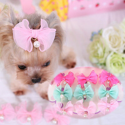 Lovely Flower Bow Candy Pet Dog Cat Puppy Grooming Hairpin Hair Clip