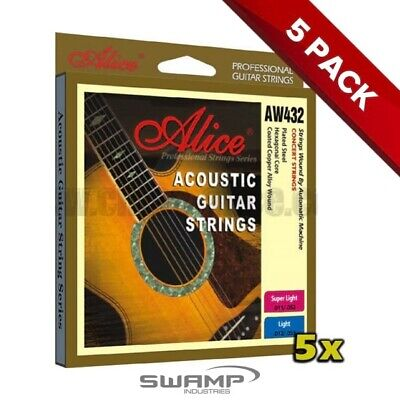 5x Alice Acoustic Guitar Strings - 12-53