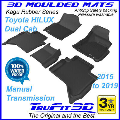 Fits Toyota Hilux Dual Cab 2015 - 2019 Black Rubber 3D Floor Mats - Manual Trans