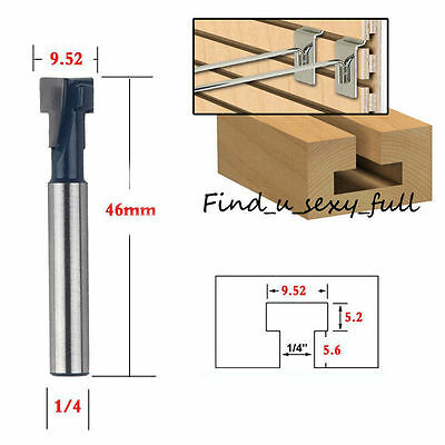 3/8'' x 1/4'' Shank T-Slot Cutter Milling Router Bit Steel Handle Wood T-Track