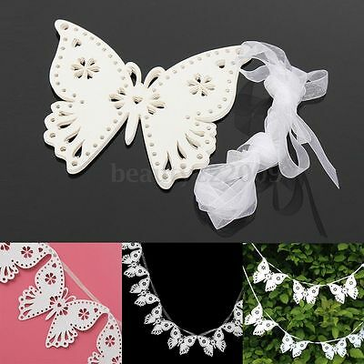 White Butterfly Pennants Bunting Banner Birthday Party Wedding Decoration 2.5M