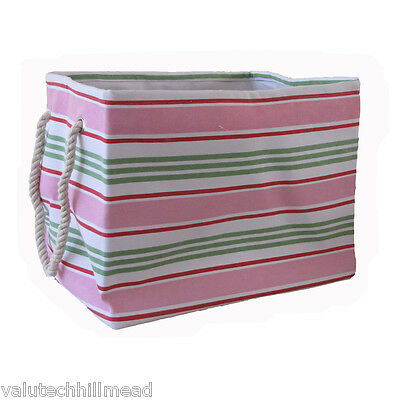 PM&PP Natural Interiors Soft Storage Bag Striped in Pink/Green