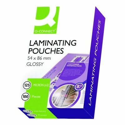 100 x LAMINATING POUCHES - 54 x 86MM - ID / BUSINESS CARD - 125 MICRON - £2.99