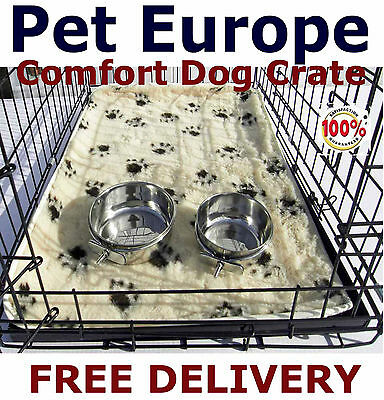 Dog & Puppy Crate Cage VetBed & Twin Bowls Included Small Medium Large XL & XXL
