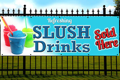 ICE SLUSH Drink PVC Printed Banner Outdoor/Indoor Catering Sign Eyelets