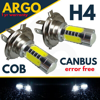 H4 Motorcycle 50W Cob Led High Low Beam Headlight Front Light Bulbs Lamp 2 X