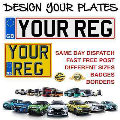 High Quality Reg Number Plates Rear & Front Pair 100% Road Legal & Mot Compliant