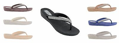 Ella Womens S1 Low Wedge Toe Post Flip Flop Sandals.