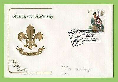 G.B. 1982 26p Scouts on Cotswold First Day Cover, Baden Powell House
