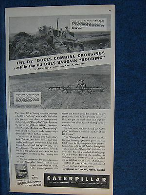 1949 Ad Print  Caterpillar D7 & D4 Recommended By Conrad Montana Farmer