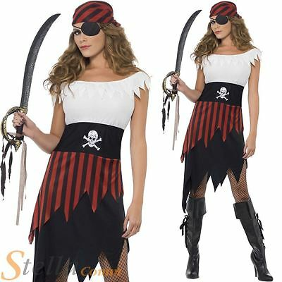Ladies Buccaneer Pirate Wench Costume Sailor Halloween Fancy Dress Outfit