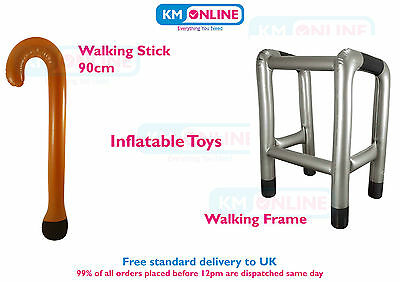 Inflatable Walking Stick / Zimmer Frame Blow Up Toy Stage Night Party Jokes Old