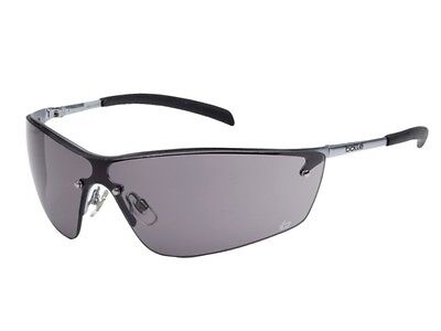 BOLLE SILIUM Smoke Black Anti Scratch-Fog Lens Silver Safety Glasses 40074 NEW