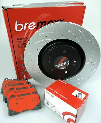BREMBO pads & BREMAXX slotted disc brake rotors FRONT for Lancer EVO 10