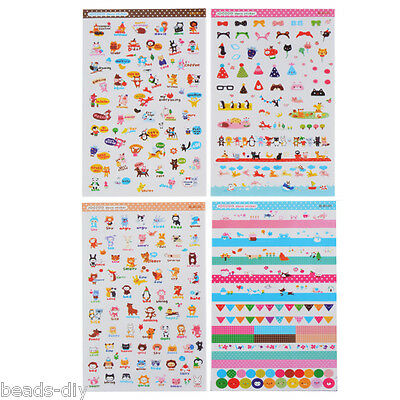 BD 1Set (8PCs) Cute Home Decoration Stamp Sticker Transparent  Fit Decor Scrap