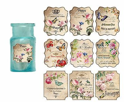 Vintage inspired perfume Paris cologne 9 glossy laminated bottle labels