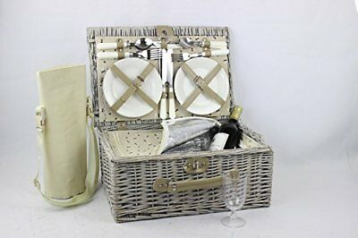 Luxury 4 Person Wicker Chiller Picnic Hamper Basket With Cooler Compartment and