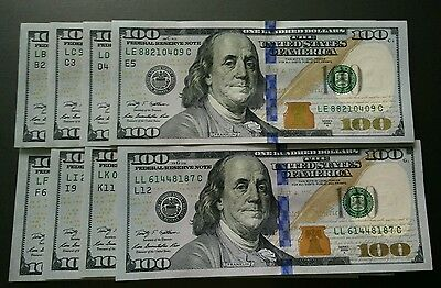 8 Federal Reserve's 2009A $100 DOLLAR US USA AMERICA UNC CURRENCY MONEY BANKNOTE